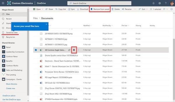 OneDrive - Für später Speichern-Funktion