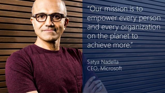 """Bild Satya Nadella mit Mission """"to achieve more"""""""